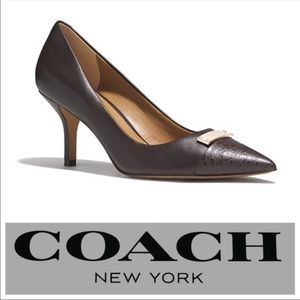 New Coach Zan black leather pumps